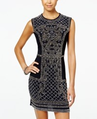 Blondie Nites Juniors' Jeweled Front Bodycon Dress Silver Navy