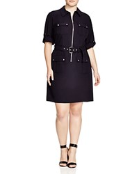 Michael Michael Kors Plus Size Roll Sleeve Belted Shirt Dress New Navy