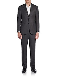 Saks Fifth Avenue Black Slim Fit Crowsfoot Suit Black