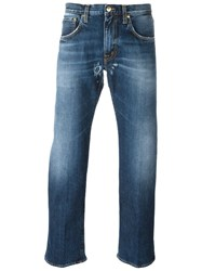 People People Frayed Hem Straight Jeans Blue