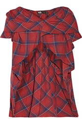 Y 3 Plaid Cotton Flannel Hooded Vest Red