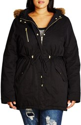 City Chic Plus Size Women's Faux Fur Trim Drawstring Cotton Parka