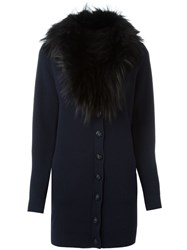 Versace Fox Fur Collar Cardigan Blue