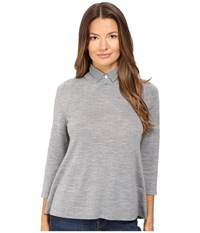 Kate Spade Collared Relaxed Sweater Miles Grey Melange Women's Sweater Gray