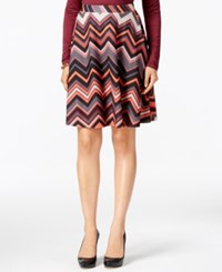 Eci Chevron Print Textured A Line Skirt Ivy Red