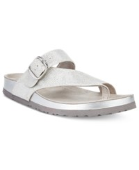 White Mountain Henri Footbed Sandals A Macy's Exclusive Style Women's Shoes Silver Glitter