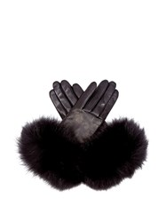 Agnelle Carole Fox Fur Trim Leather Gloves Black