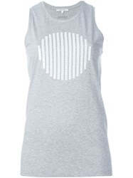 Carven Embroidered Tank Top Grey