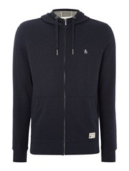 Original Penguin Loop Back Hooded Marl Sweatshirt Navy