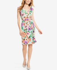American Living Floral Print Sheath Dress Turquoise Purple Floral