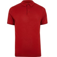 River Island Mens Red Polo Shirt