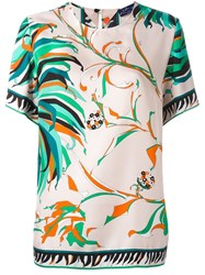 Emilio Pucci 'Leaves' Print T Shirt Pink Purple