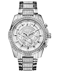 Guess Watch Men's Chronograph Crystal Accent Stainless Steel Bracelet 47Mm U0291g1