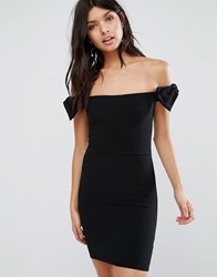 Oh My Love Off The Shoulder Mini Dress With Bow Black