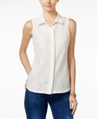 Charter Club Lace Sleeveless Shirt Only At Macy's Vintage Cream