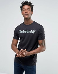 Timberland Linear Logo T Shirt In Black Black