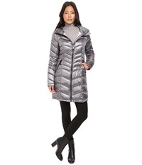Calvin Klein Long Hooded Packable Down With Waist Detail Shine Granite Women's Coat Gray