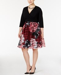 Ny Collection Plus Size Floral Print Fit And Flare Dress Berry Floral