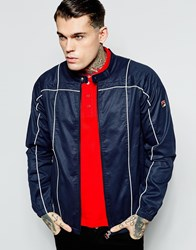Fila Vintage Biker Jacket In Waxed Cotton Navy