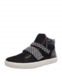 Carrano Lee Suede Leather Beaded Sneaker Black