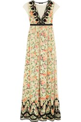 Vineet Bahl Embellished Tulle And Printed Satin Maxi Dress White