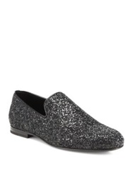 Jimmy Choo Sloane Glitter Slip On Loafers Black