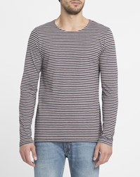 Forvert Burgundy Ribe Ls Striped Round Neck T Shirt