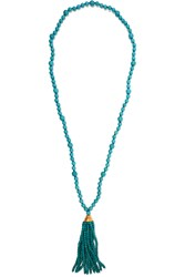 Kenneth Jay Lane Tasseled Gold Plated Beaded Turquoise Necklace