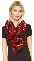 Marc Jacobs Red Plaid Stole Scarf Red Multi