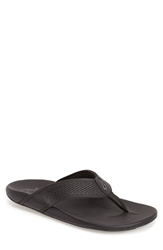 Olukai 'Kekoa' Water Resistant Perforated Leather Flip Flop Men Black Black