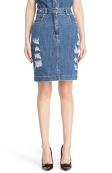 Moschino Women's Distressed Denim Skirt