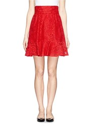 Dolce And Gabbana Floral Guipure Lace Flare Skirt Red