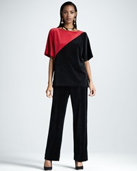 Joan Vass Velour Colorblock Tunic Petite
