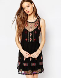 Asos Mesh Sundress With Bright Embroidery Black