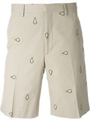 Fendi Embroidered Light Bulb Shorts Nude And Neutrals