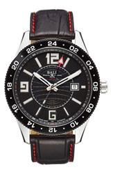 Ball 'Engineer Master Ii Pilot Gmt' Leather Strap Watch 44Mm Black Black