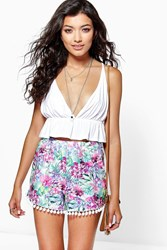 Boohoo Tropical Print Shorts Multi