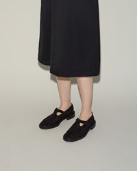 Hereu Galilea T Strap Flat Black Calf Suede