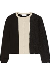 Moschino Paneled Wool And Guipure Lace Cardigan Black