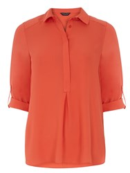 Dorothy Perkins Roll Sleeve Collar Blouse Pink
