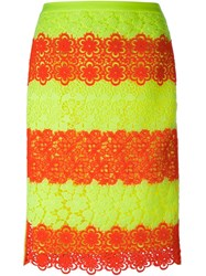 Moschino Floral Neon Lace Pencil Skirt Multicolour