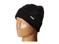 Michael Michael Kors Cable Knit Hat With Fold Up Cuff Black Knit Hats