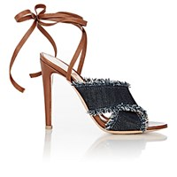 Gianvito Rossi Women's Denim And Leather Ankle Wrap Sandals Navy
