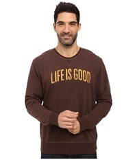 Life Is Good Arch Go To Crew Darkest Brown Men's Long Sleeve Pullover