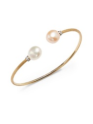 Marco Bicego Pink And White Freshwater Pearl Diamond And 18K Yellow Gold Bracelet