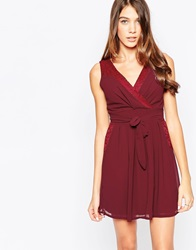 Wal G V Neck Skater Dress With Lace Detail Wine