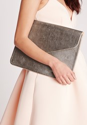 Missguided Oversized Metallic Envelope Clutch Bag Silver Grey