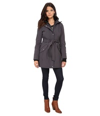 Jessica Simpson Long Zip Front Soft Shell With Belt Grey Women's Clothing Gray
