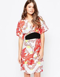 Closet Dress With Kimono Sleeves In Eastern Floral Print Red