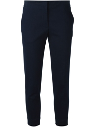 Victoria Beckham Denim Cropped Tailored Trousers Blue